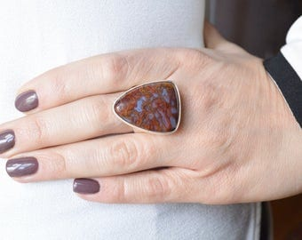 Plume Agate Angular Ring // Agate Jewelry // Sterling Silver // Village Silversmith