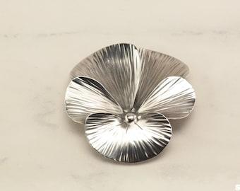 Sterling Silver Pansy Flower Brooch  Stuart NYE