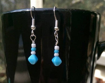 Sterling Silver Baby Blue and White Beaded Dangle Earrings