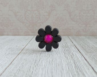 Black Flower with Pink Center- Black Flower- Tie Tack or Lapel Pin