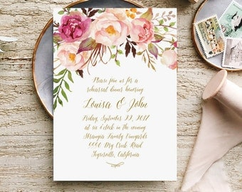 Printable Rehearsal Dinner Invites in Blush Pink and Gold