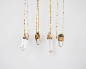 Quartz Crystal Necklace / gold plated double point quartz pendant necklace