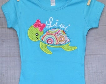 Personalized Sea Turtle Applique Shirt or Onesie Girl