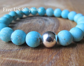 Sterling Silver and Turquoise Bracelet, Matte Turquoise Magnesite, Beaded Bracelet, Gemstone Bracelet, Stacking Bracelet, Layering Bracelet