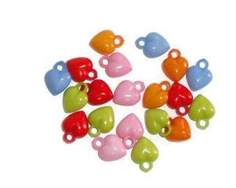 50ct. Colorful Acrylic Heart Charms, Pendants, 12mm, Crafts, Scrapbooks, Jewelry Design, DIY, Children's Activities, Kid's Crafts