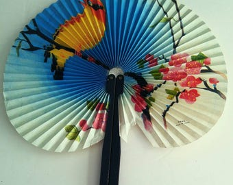 Vintage Collectible Metal Handle Retractable Folding Paper Fan Bird Perched On Branch Fan