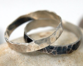 Silver Stacking Rings, Silver Stacking Ring Set, Silver Stacking Bands, Oxidized Stackable Rings