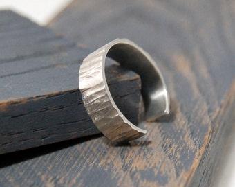 Mens Adjustable Wedding Band Ring. Mens Adjustable Ring Tree Bark imitation, Mens Adjustable Rustic Silver Band Ring