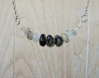 Minimalist Tourmalated Quartz Necklace