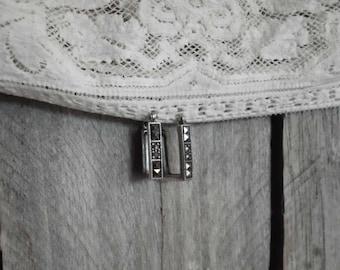Sterling Silver Marcasite Rectangle Hoop Earrings