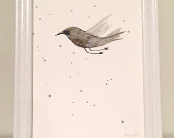 Original Ink Art Flying Bird Painting Drawing Wall Art Children Room Unframed White Black Gray