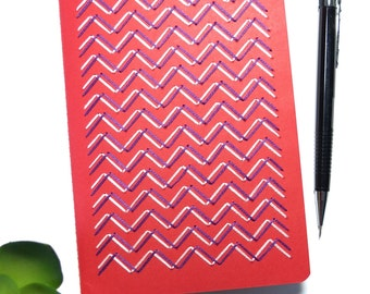 Hand embroidered red sketchbook pink powder purple chevrons pattern-drawing-graphic textile design-writing-fashion item-man woman teen gift