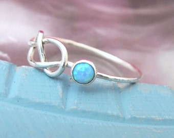 Sterling Silver Infinity Knot Ring, Opal Infinity Ring, Gemstone Infinity Ring, Promise Ring, 925