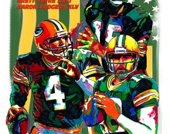 """Green Bay Packers, Bart Starr, Brett Favre, Aaron Rodgers, Football, POSTER from Original Drawing 18"""" x 24"""" Signed/Dated by Artist w/COA"""