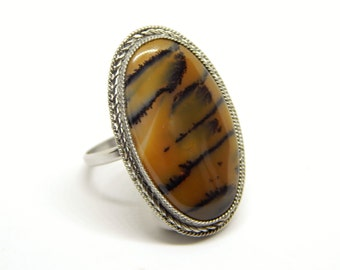 Natural Dendritic landscape agate ring, dendritic quartz ring, tiger atone ring, gemstone ring, orange agate ring