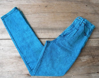 Size 27 Vintage Teal Green Acid Wash High Waisted Wrangler Jeans / Teal Acid Wash Jeans / High Waist Acid Wash Wrangler Jeans / 27 in Waist
