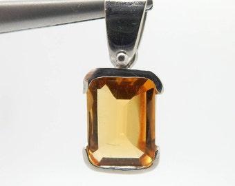 18K White Gold 1.25ct Emerald Cut Golden Topaz Dangle Pendant