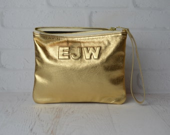 Medium Metallic Gold Leather Clutch, Leather Pouch, Leather Monogram, Leather carryall, custom handmade to order with Initials