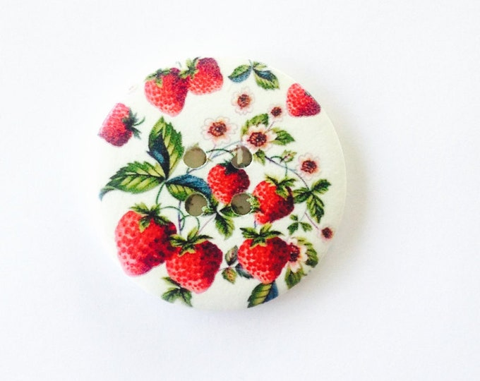 50mm wooden button featuring lots of gorgeous red strawberries
