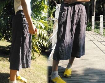 696---Washed Lithuanian Linen Elastic Waist A-line Skirt, Gray Midi Skirt, Flare Skirt, Full Skirt,  Made to Order.