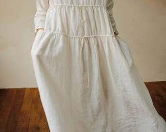 759---White Gathering High Counted Washed French Linen Dress, Trapeze Dress, Spring / Summer Dress, Made to Order.