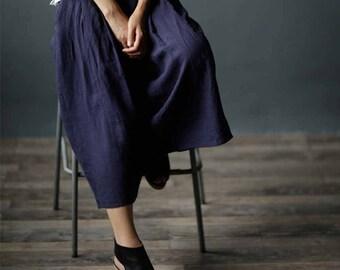 608---Deep Blue Washed Lithuanian Linen Wide Leg Pants / Culotte, Gaucho Pants, European Linen Yoga Pants, Skirt Pants, Pants Skirt, Skants.