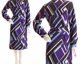 1960s Mod Electric Blue Purple Black and White Geometric Printed Polyester Dress- L