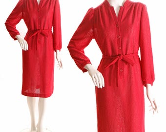 1960s Polyester Knit Deep Red Knee Length Waist Tie Dress by Marty Gutmacher - L