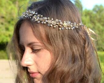 Bridal Hair Wreath,Crystal vine, Wedding halo, Floral gold halo, Wedding headpiece,Floral vine halo, gold headpiece, gold wedding halo