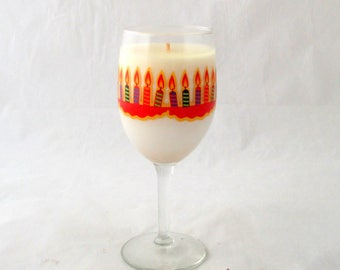 Birthday gift candle, birthday cake candle, wine glass candle, soy candle, Birthday candle, unique candle, soy wax candle