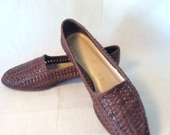 Vintage Brown Leather Woven Flats Women's 8 1/2