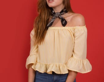 Bonny off shoulder top, white and yellow stripes with ruffles.