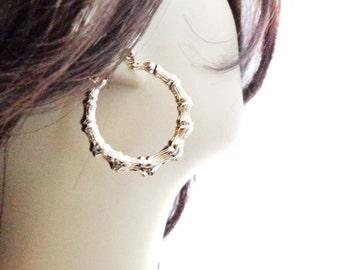 VINTAGE 80's BAMBOO HOOP earrings Gold Tone Hoop Earrings 1.25 inch Hoop 18k gold plated steel posts