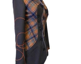 Manteau femme original cintré écossai et gris /Veste chaude British 34/36 (XS)