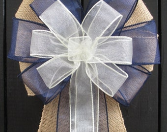 Sheer Ivory Navy Blue Burlap Bow, Ivory White Blue Organza, Rustic Wedding Pew, Baby Shower It's A Boy Gender Reveal