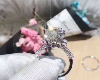 3 ct rose ring unique art deco engagement ring promise ring for her - Diamond Wedding Rings For Her