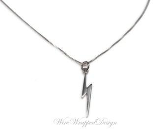 Necklace Sterling LIGHTNING BOLT Necklace CUSTOMIZE 925 Sterling Silver Lightening Bolt Necklace Jewelry Necklace Valentines Gift
