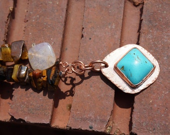 Tiger's Eye, Dusty Quartz, Howlite, and Copper Necklace