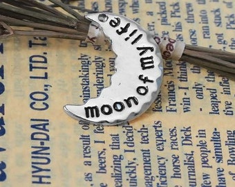 "Charms Half Moon Silver Tone Message ""moon of my life "" - 1"" x 6/8"" - with chain"