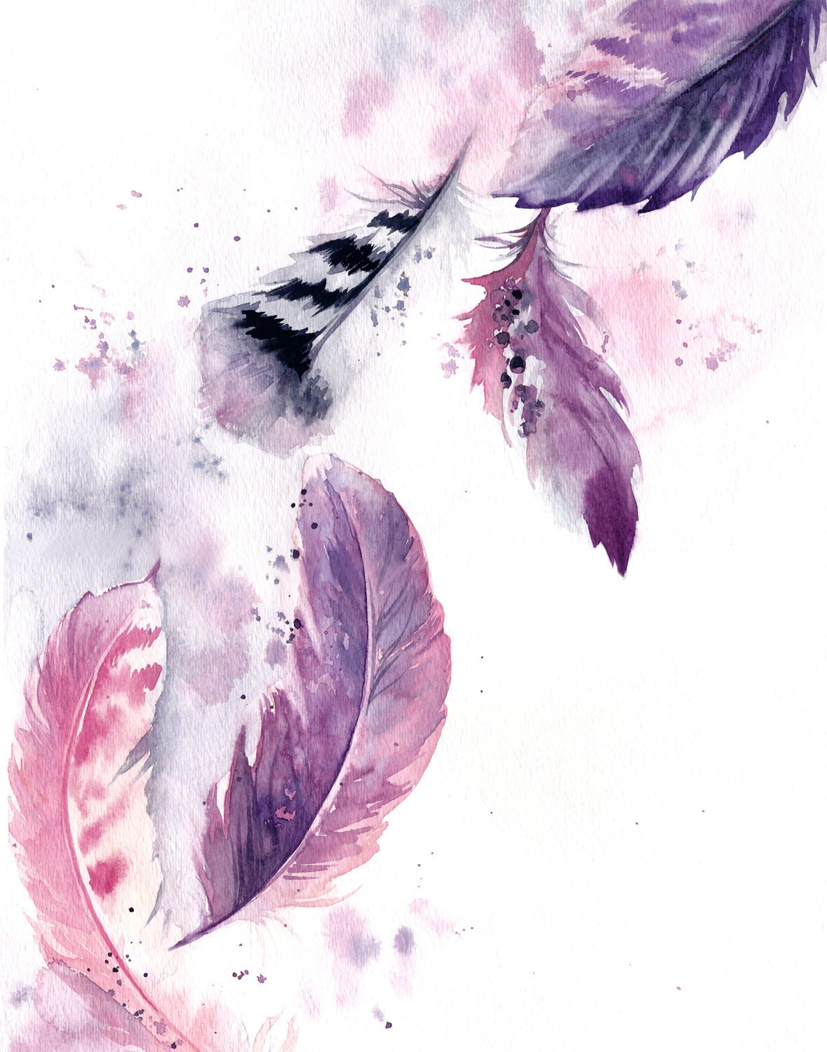 Purple Feathers ORIGINAL Watercolor Painting Painting of