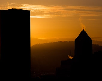 Portland Oregon Sunrise Photograph, Skyline, Mt Hood, Downtown, 8x10 Print Wall Decor, PDX, Silhoette, Pacific Northwest