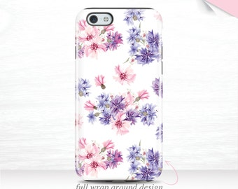 Purple Floral iPhone 7 Case iPhone 5s Case Edge Wrap, iPhone 7 Plus Case Pink iPhone 6+ Case iPhone SE Case Flower, Galaxy S7 Case 14n
