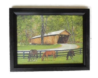 The Old Covered Bridge, Country Decor, Covered Bridge and Horses, Art Print, Wall Hanging, Handmade, 19X15, Custom Wood Frame, Made in USA