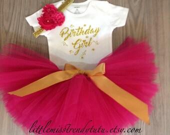 Girls BIRTHDAY GIRL Birthday Tutu Set, Pink Gold Birthday Set, Pink and Gold  Birthday Tutu Shirt Outfit with Headband