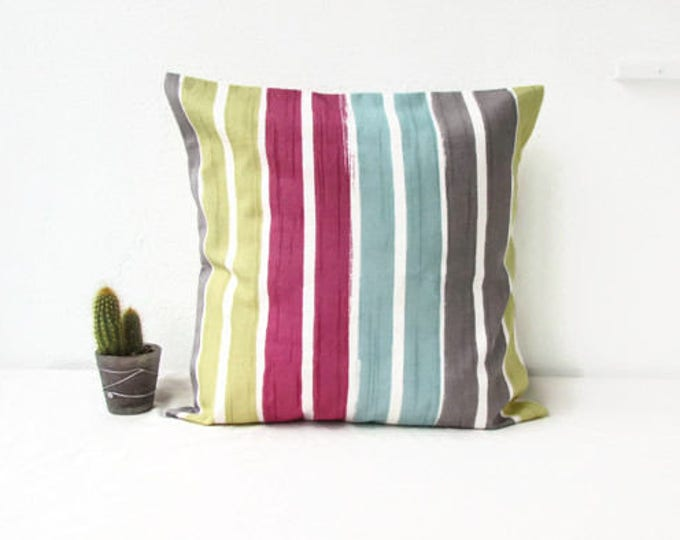 Colourful cushion cover, British designer Clarke and Clarke, handmade in the UK