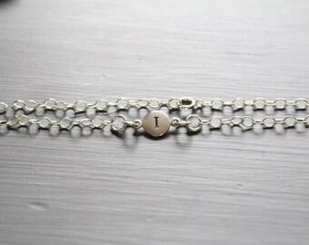 Sterling Silver Simple I Initial Bracelet, Silver Stamped I Bracelet, Stamped I Initial Bracelet, Small I Initial Bracelet, I Bracelet