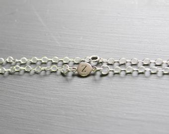 Sterling Silver Simple Z Initial Bracelet, Silver Stamped Z Bracelet, Stamped Z Initial Bracelet, Small Z Initial Bracelet, Z Bracelet
