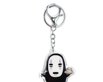 PREORDER No Face (Kaonashi) and Cake, from Studio Ghibli's Spirited Away, Acrylic Charm Keychain