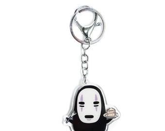 No Face (Kaonashi) and Cake, from Studio Ghibli's Spirited Away, Acrylic Charm Keychain