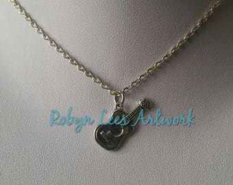 Small Flat Silver Guitar Charm Necklace on Silver Crossed Chain or Black Faux Suede Cord. Acoustic, Music, Band, Costume